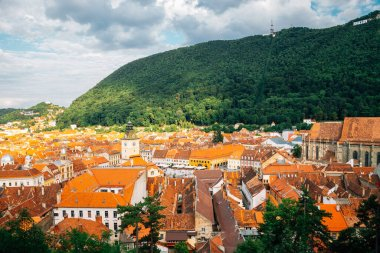 Medieval old town panorama view with Tampa mountain in Brasov, Romania