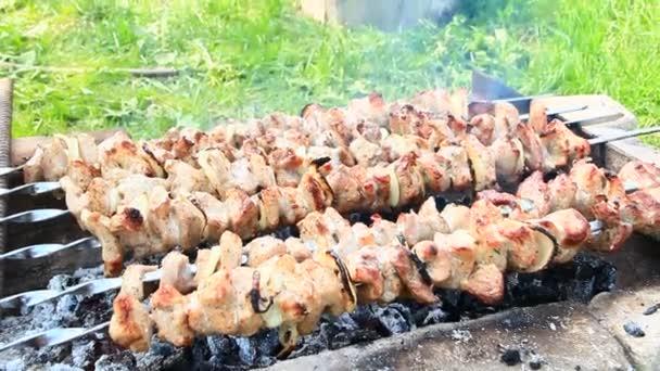 Étvágygerjesztő saslik kívül. Főzés a sertéshús. Kültéri grill ebédre. Folyamat a főzés a sertéshús, a tűz. Saslik készült barbecue grill faszén