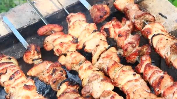 Chutný šašlik zblízka. Vařené vepřové maso. Barbecue oběd venku. Grilované kousky vepřového masa. Šašlik připravené na grilu
