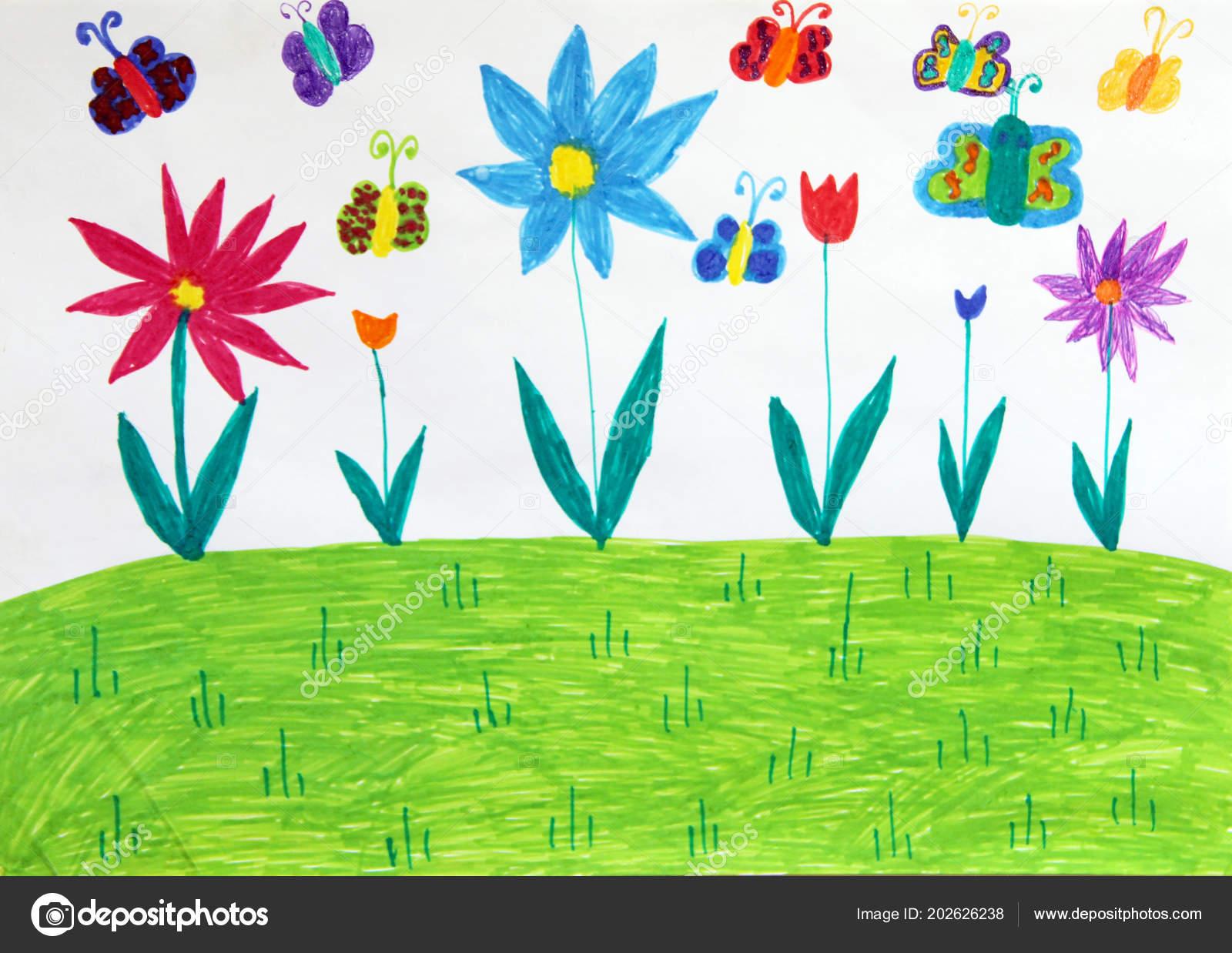 Colored Children Drawing Butterflies Flowers Meadow Kid Drawing
