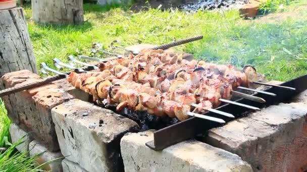 Vaření kousky masa na ohni closeup. Vařené vepřové maso. Barbecue oběd venku. Grilované kousky vepřového masa. Šašlik připravené na grilu