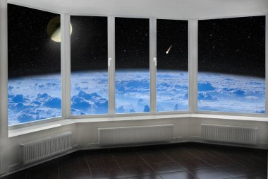Room window with view to space above Earth's atmosphere Moon comet and starry cosmos. Cozy room with cosmic panorama from window. Blue sky over Earth seen from window