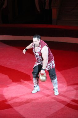 Strong man showing tricks with weights on arena of circus