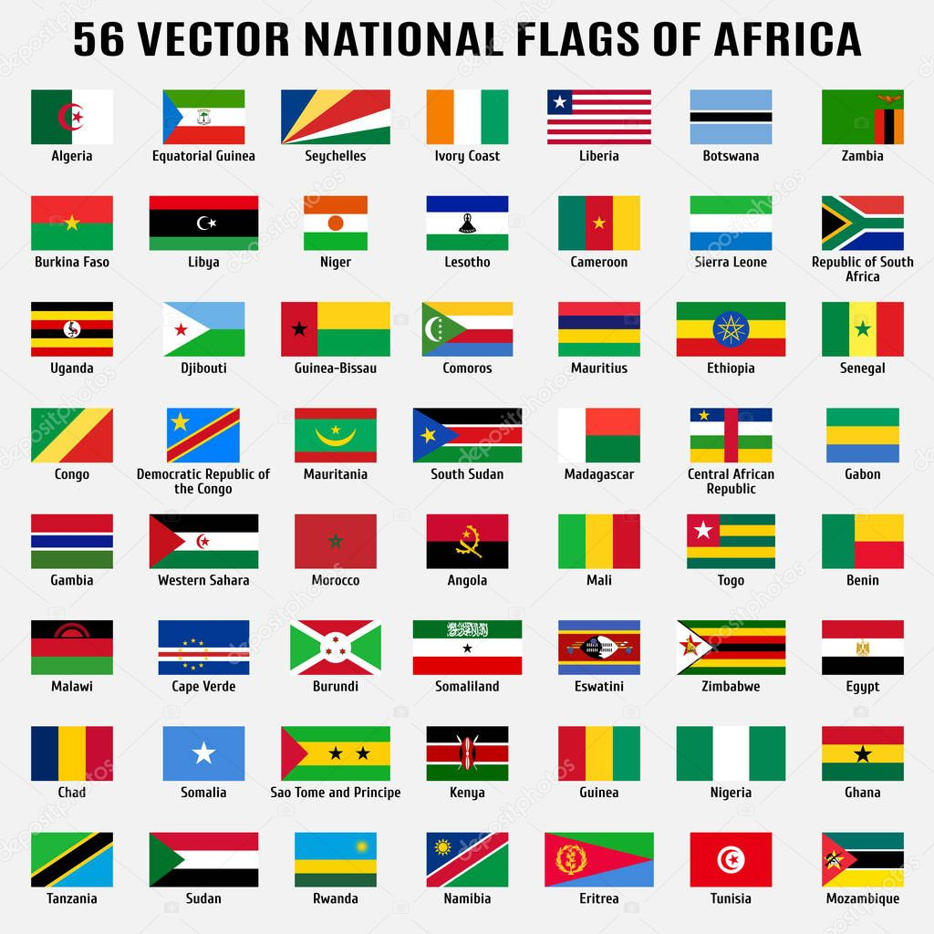 Vector collection of 56 national flags of Africa