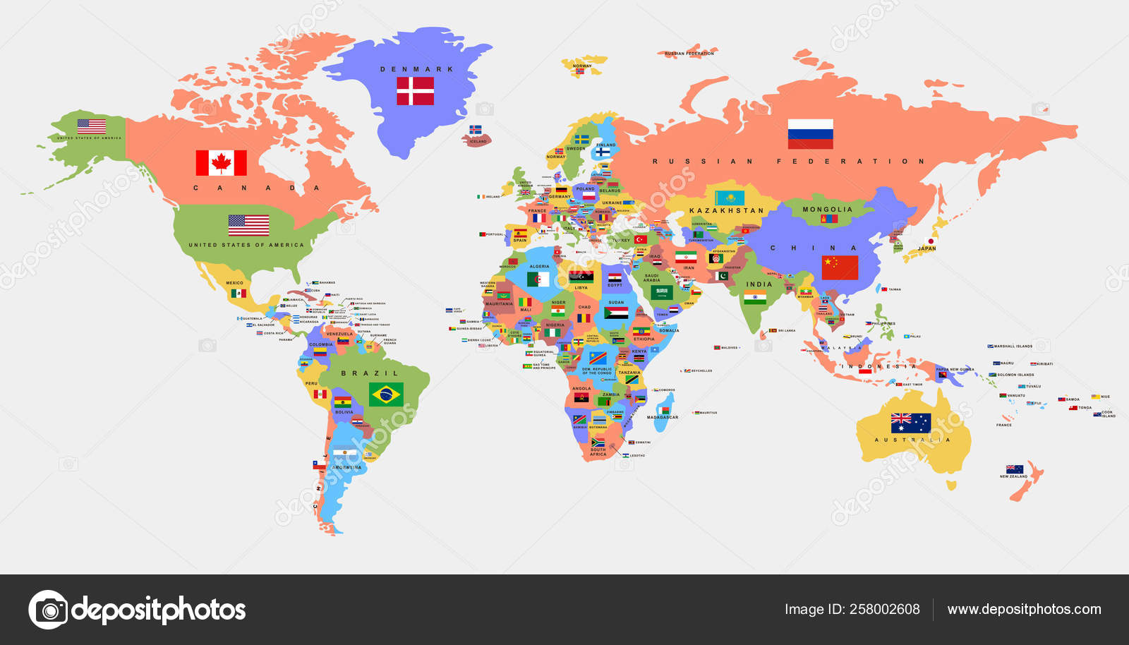 Color world map with the names of countries and flags ...