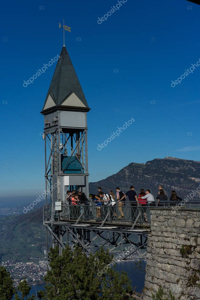Hammetschwand Elevator near Luzern, the highest exterior elevator in Europe, Editorial Photo taken on 14.10.2017