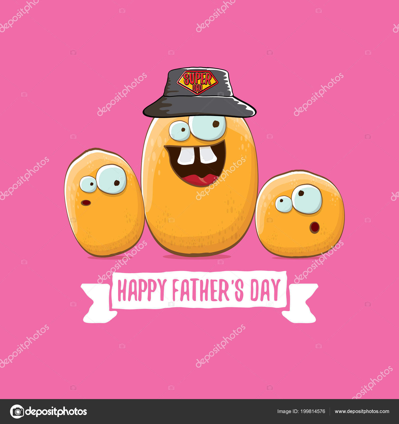 Happy fathers day greeting card with cartoon father potato and kids happy fathers day greeting card with cartoon father potato and kids fathers day vector label or icon isolated on pink background zm1ter vektr m4hsunfo