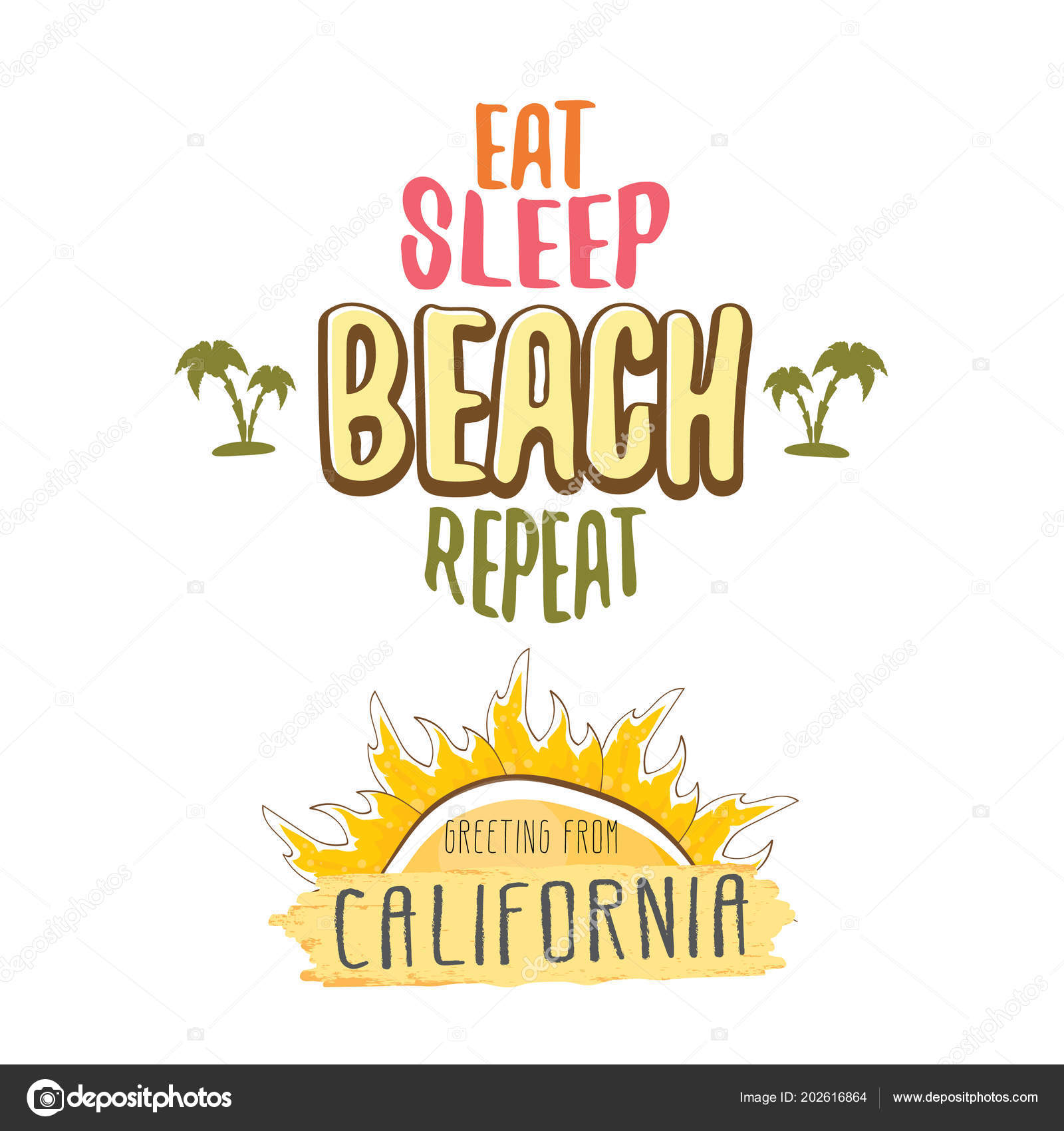Eat Sleep Beach Repeat Vector Cartoon Concept Illustration Or Summer