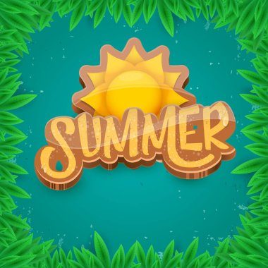 vector summer label paper art syle on green foliage background . Summer beach party poster, flyer or banner design template.