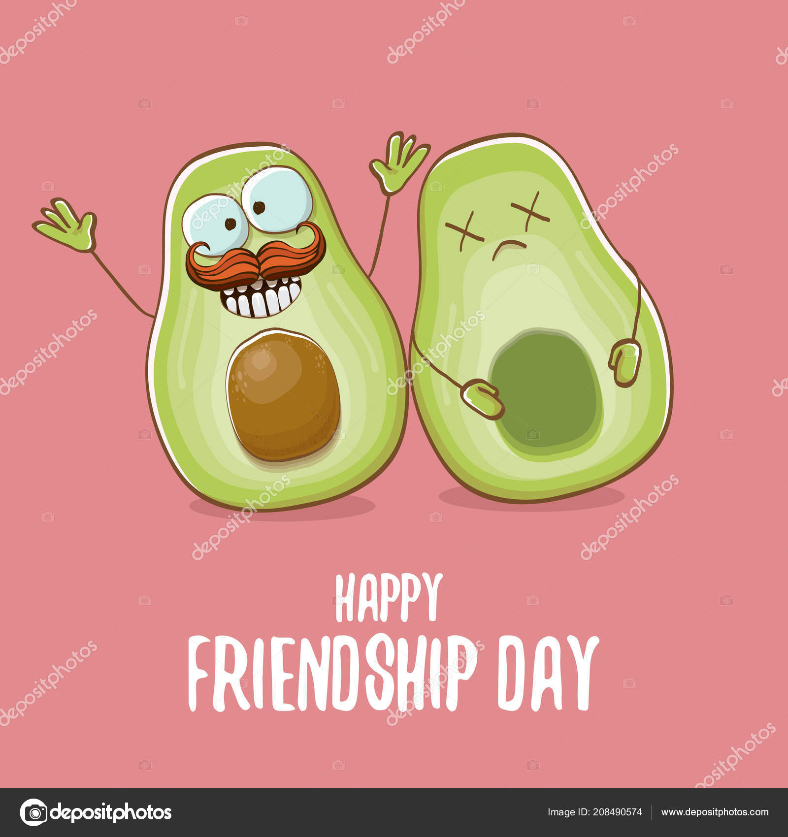 Happy friendship day cartoon comic greeting card with two green happy friendship day cartoon comic greeting card with two green avocado friends friendship day concept m4hsunfo