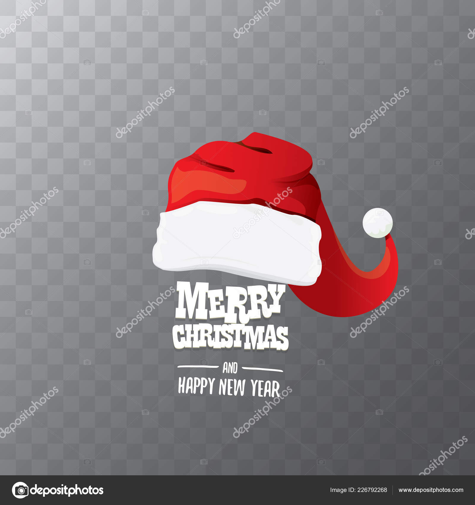 Christmas Hat Transparent.Vector Red Santa Hat Label Isolated On Transparent