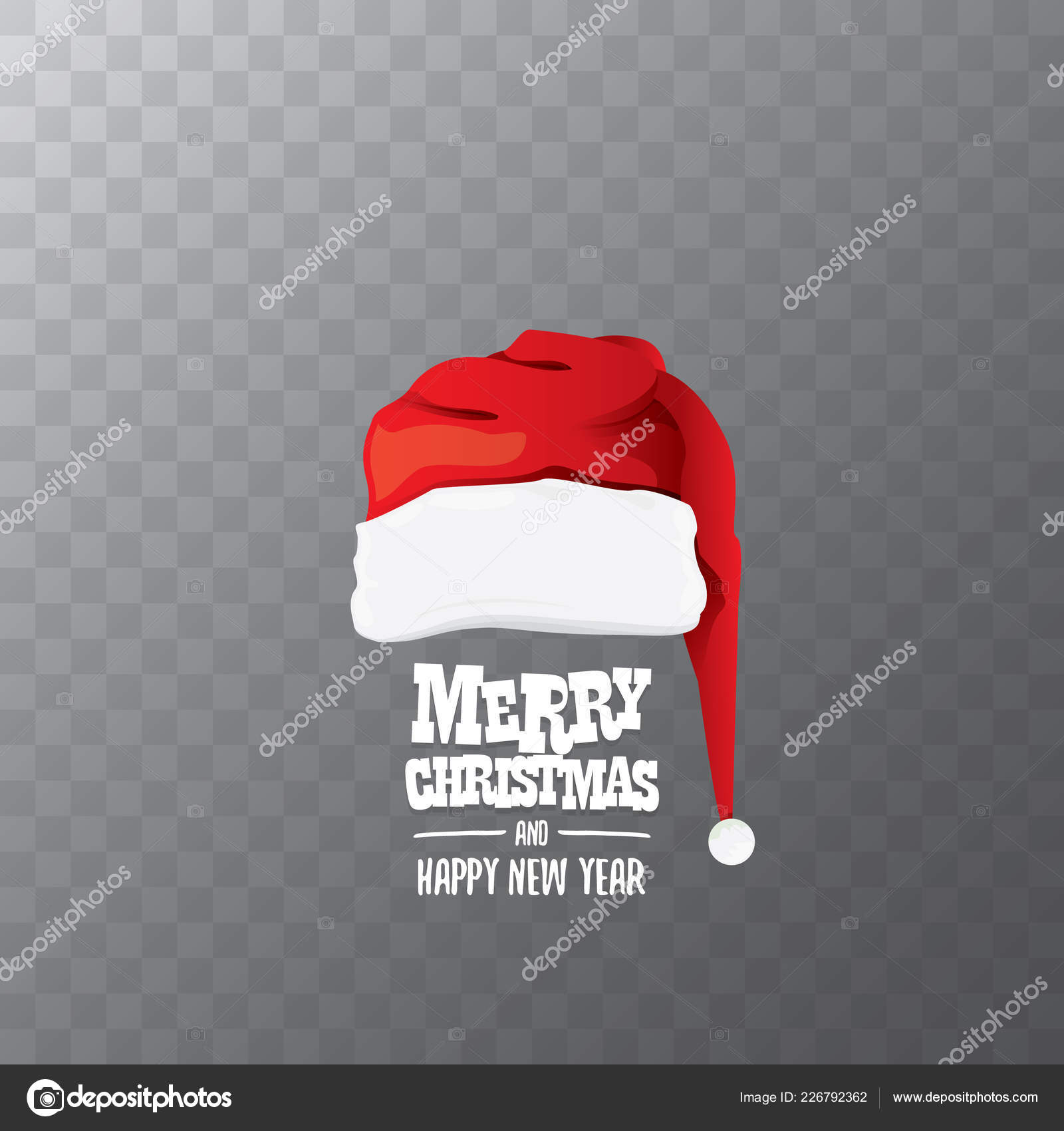 Transparent Christmas Hat.Vector Red Santa Hat Label Isolated On Transparent