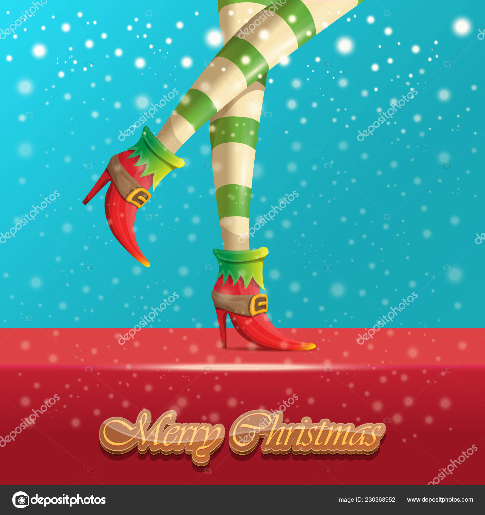 Vector merry christmas greeting card with cartoon elf hot girls legs, falling snow, lights
