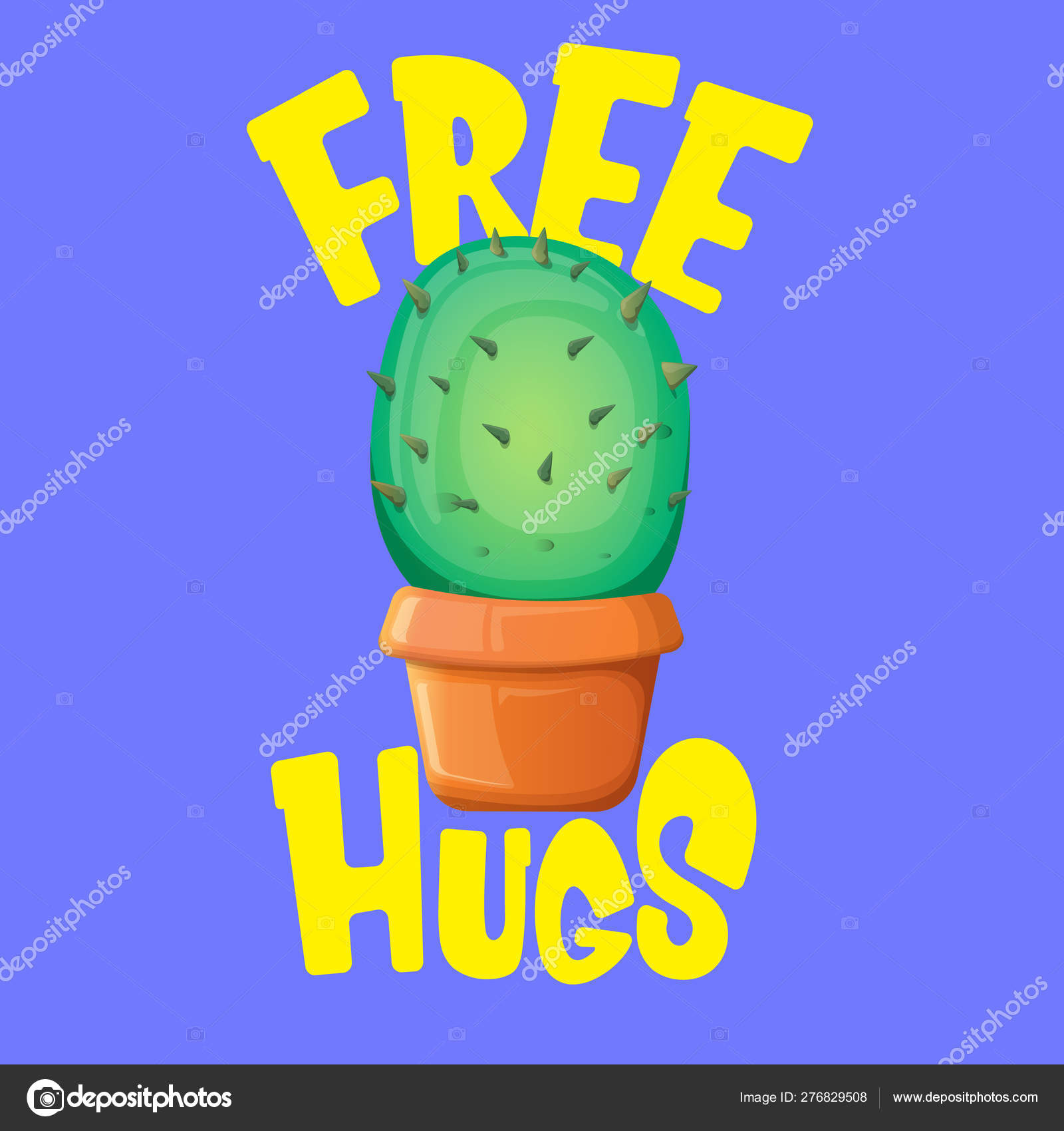 Free hugs text and cartoon green cactus in pot isolated on