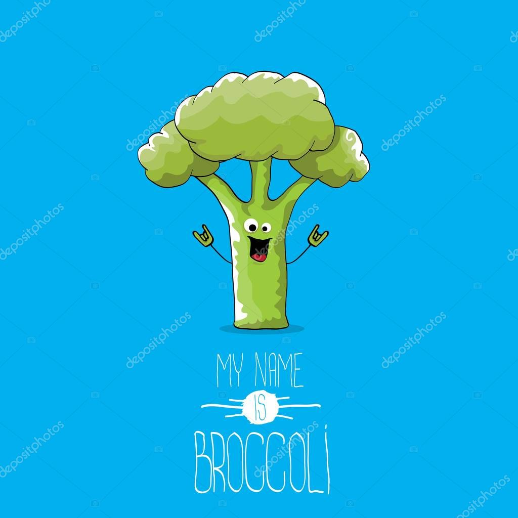 vector funny cartoon cute green broccoli character isolated on blue background my name is broccoli vector concept vegetable funky character premium vector in adobe illustrator ai ai format encapsulated wdrfree