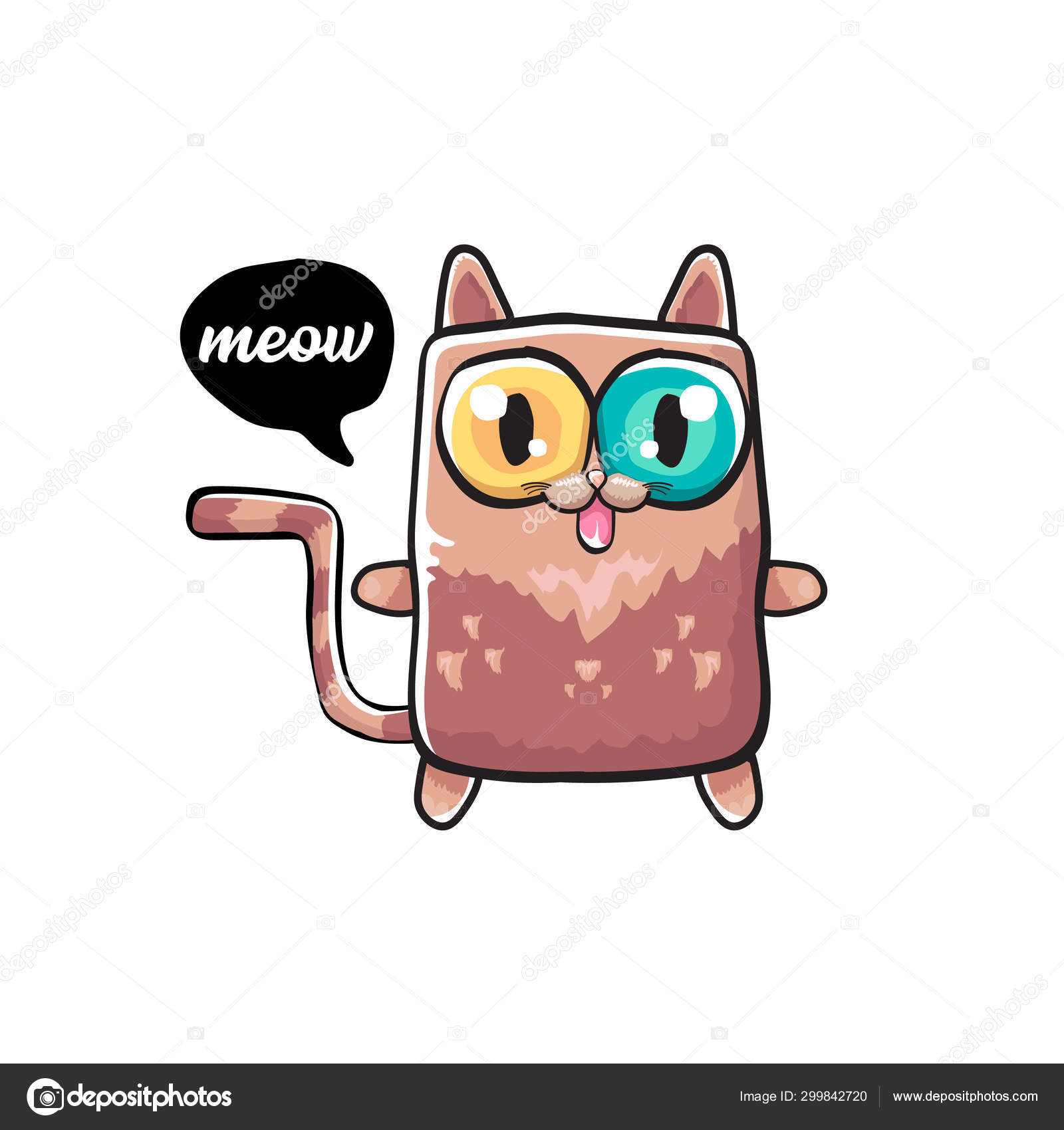 Kawaii Cute Cat Isolated On White Background Cartoon Happy Kitten