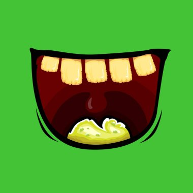 Vector cartoon funny zombie monster mouth with rotten teeth isolated on green background. Vector happy Halloween kids t-shirt design template with monster mouth icon