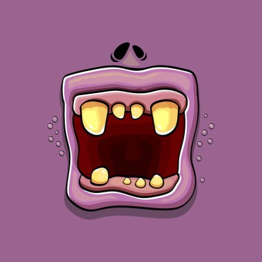 Vector cartoon funny silly zombie monster mouth with rotten teeth isolated on violet background. Vector happy Halloween kids t-shirt design template with funky monster mouth icon
