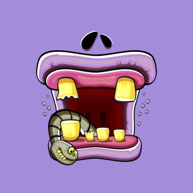 Vector cartoon funny silly zombie monster mouth with rotten teeth and green worm isolated on a violet background. Vector happy Halloween kids t-shirt design template with funky monster mouth icon
