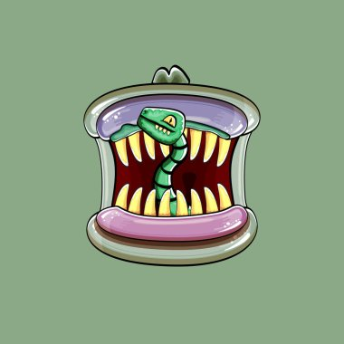 Vector cartoon funny silly zombie monster mouth with rotten teeth and green worm isolated on a green background. Vector happy Halloween kids t-shirt design template with funky monster mouth icon