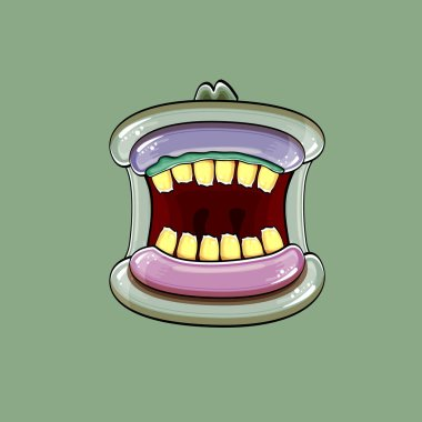 Vector cartoon funny silly zombie monster mouth with rotten teeth isolated on green background. Vector happy Halloween kids t-shirt design template with funky monster mouth icon