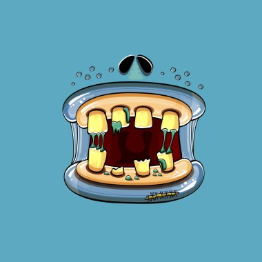 Vector cartoon funny silly zombie monster mouth with rotten teeth isolated on blue background. Vector happy Halloween kids t-shirt design template with funky monster mouth icon