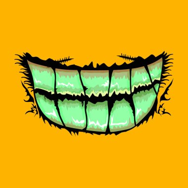 Vector cartoon funny zombie monster mouth with rotten teeth isolated on orange background. Vector happy Halloween kids t-shirt design template with monster mouth icon