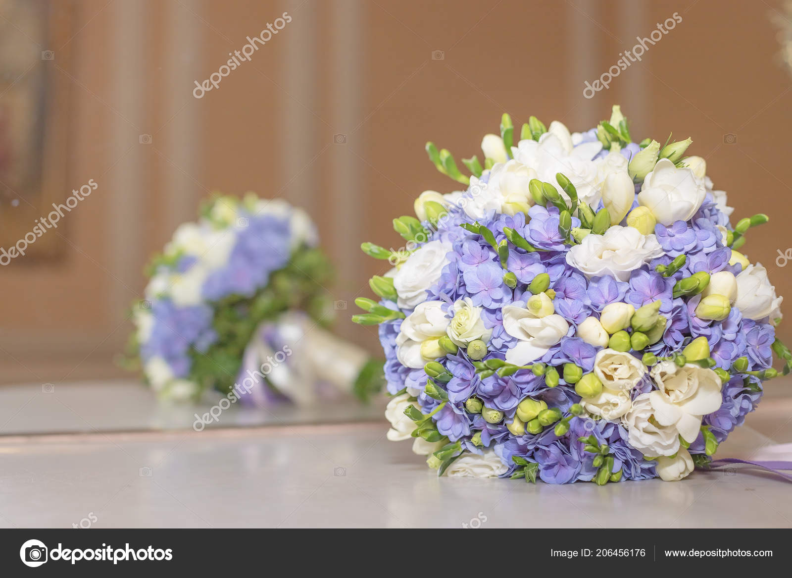 Wedding Bouquet Flowers Bridal Bouquet Beautiful White Blue Bouquet Isolated On Marble Table Against Mirrow Colorful Flowers White And Blue Freesia And Hydrangea Copy Space Stock Photo C Yulia25 List Ru 206456176