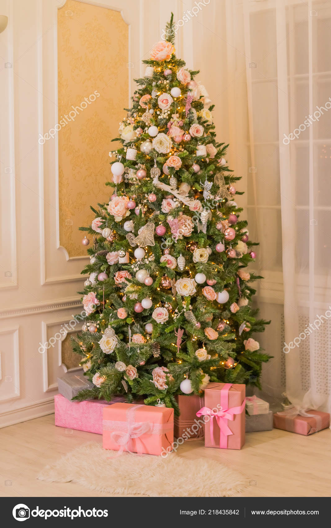 Elegant Christmas Trees Decorated With Ribbon Pastel Christmas Elegant Christmas Tree With Decorations And Gifts On Elegant Hardwood Floor Pink Christmas Gift Boxes With Pink And Silver Ribbon Next To Decorated Christmas