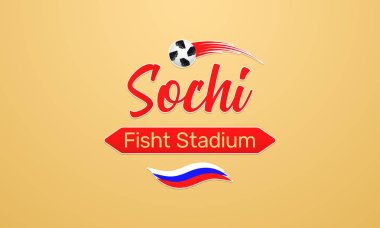 World Football Championship in Russia 2018. Vector banner with inscription of Fisht Stadium in Sochi city on the World Soccer Cup in Russia
