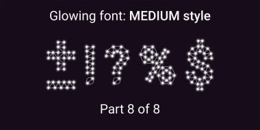 White Glowing font in the Outline style. Vector Alphabet with Connections, Lines, Polygonal structure and Glowing knots. Medium style, part 8 with symbols Plus, Minus, Percent, Dollar and other