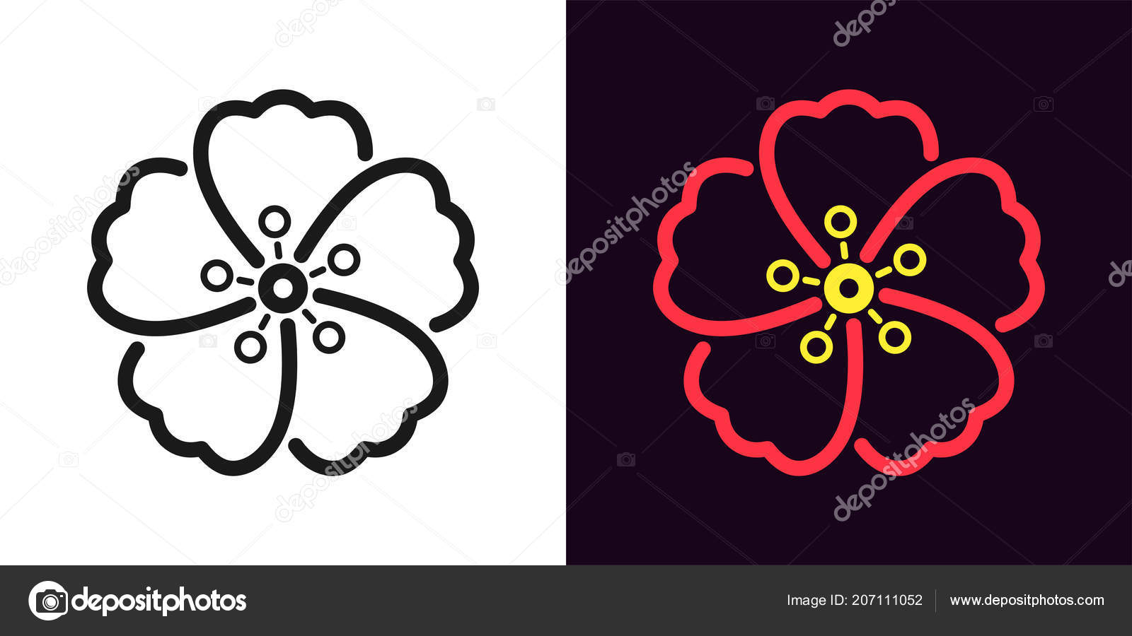 Icon hawaiian flower outline style vector illustration hibiscus icon of hawaiian flower in outline style vector illustration of hibiscus flower in black and red color isolated graphic element for decoration vector by izmirmasajfo