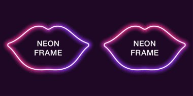 Neon frame in lips shape. Vector template of neon border in pink and violet color, creative glowing lips in outline. Modern background for design of banner and billboard, poster and cover