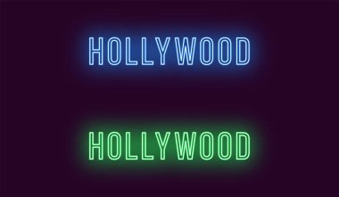 Neon name of Hollywood district in Los Angeles. Vector text of Hollywood, Neon inscription with backlight in Thin style, blue and green colors. Isolated glowing title. Without overlay mode