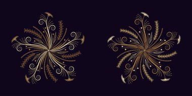 Floral flourish ornament in golden style, vector