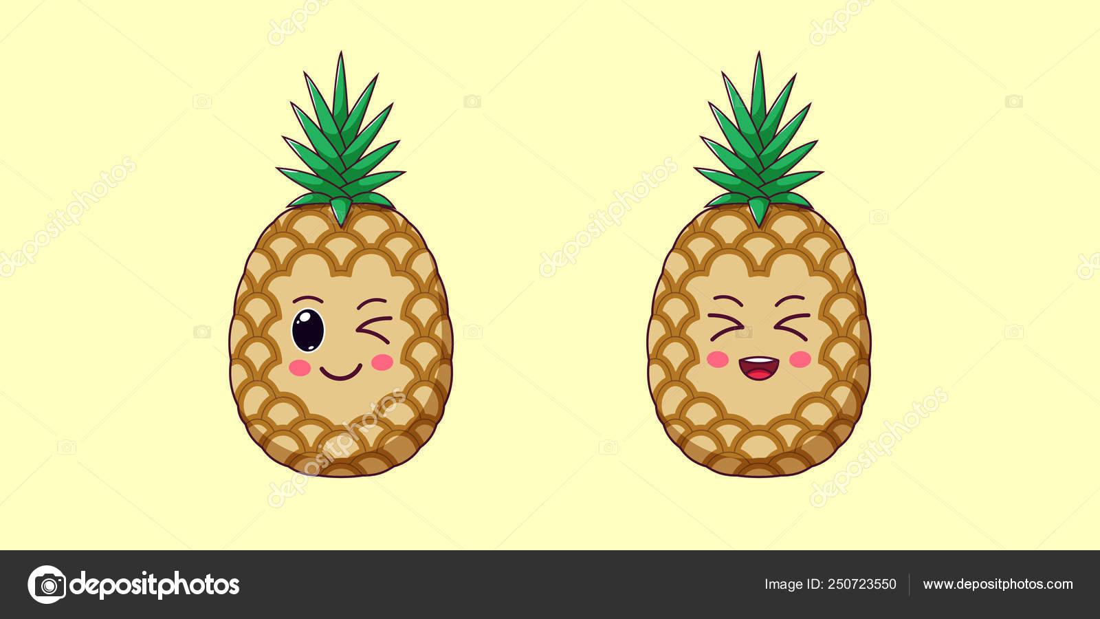 Cute Kawaii Ananas Dessin Animé De Fruits Mûrs Vector