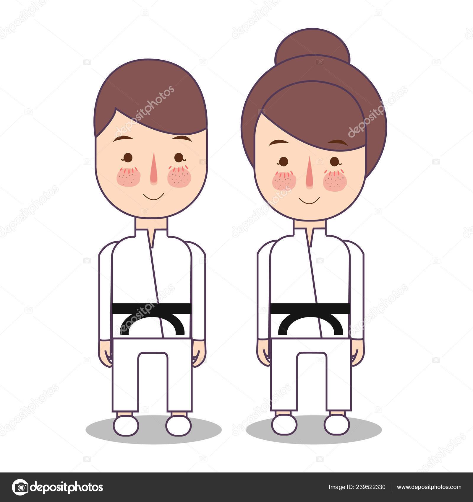 Karate Uniform Drawing Illustration Of Kids Wearing Karate Uniforms Black Belt Child Boy And Girls Judo Martial Art Costume Vector Drawing Illustration Stock Vector C Artnahla 239522330