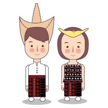 Rote Island East Nusa Tenggara province wedding Couple, cute Indonesian traditional clothes costume bride and groom cartoon vector illustration