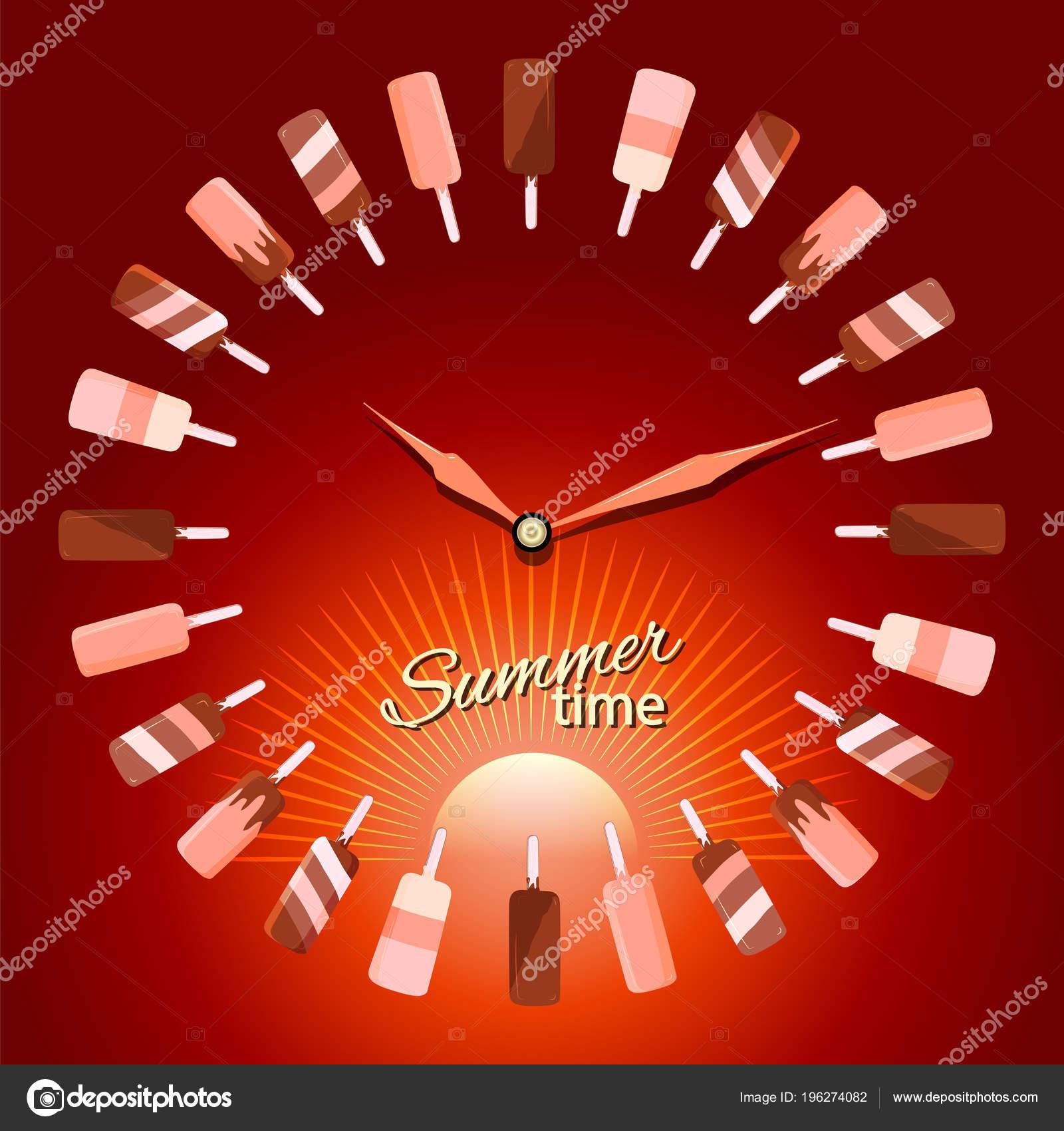 Konzept Darstellung Der Sommerzeit Die Zeiger Der Uhr Auf Dem