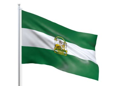 Andalucia (autonomous community in Spain) flag waving on white background, close up, isolated. 3D render