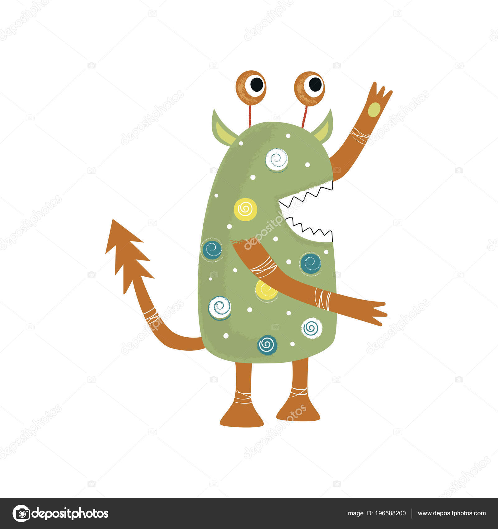 Funny Nursery Poster Cute Monster Color Kids Vector Illustration ...