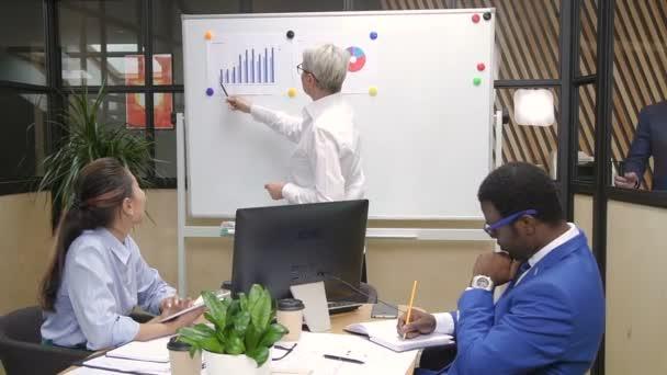 Ženské finanční expert prezentace obchodní strategii týmu Smíšené rasy na přehledové