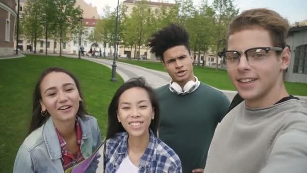 Multiethnic four people taking selfie, talking, smiling, having good day.
