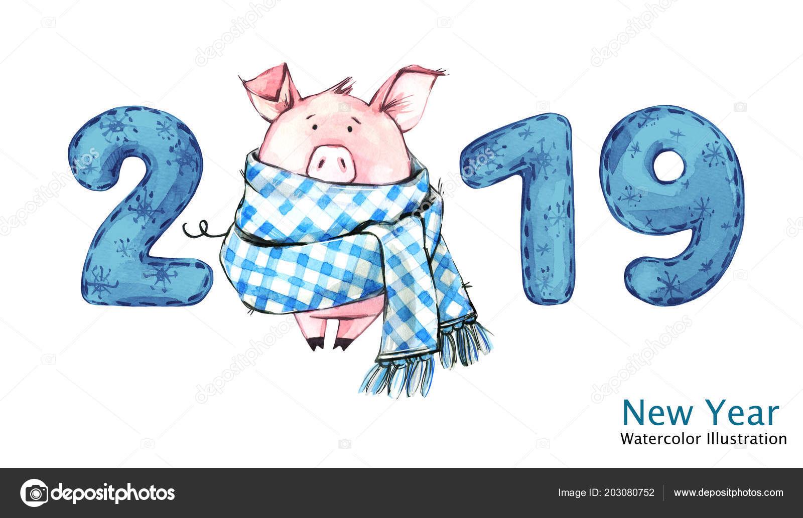 2019 happy new year banner cute pig in winter scarf with numbers greeting watercolor illustration symbol of winter holidays zodiac sign