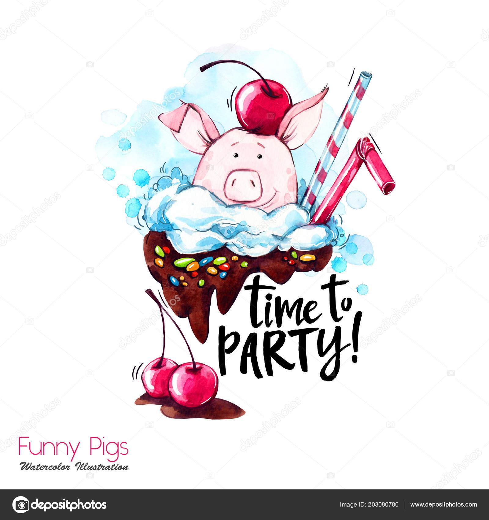 Gruß Urlaub Abbildung Aquarell Cartoon Schwein Mit Party Schriftzug