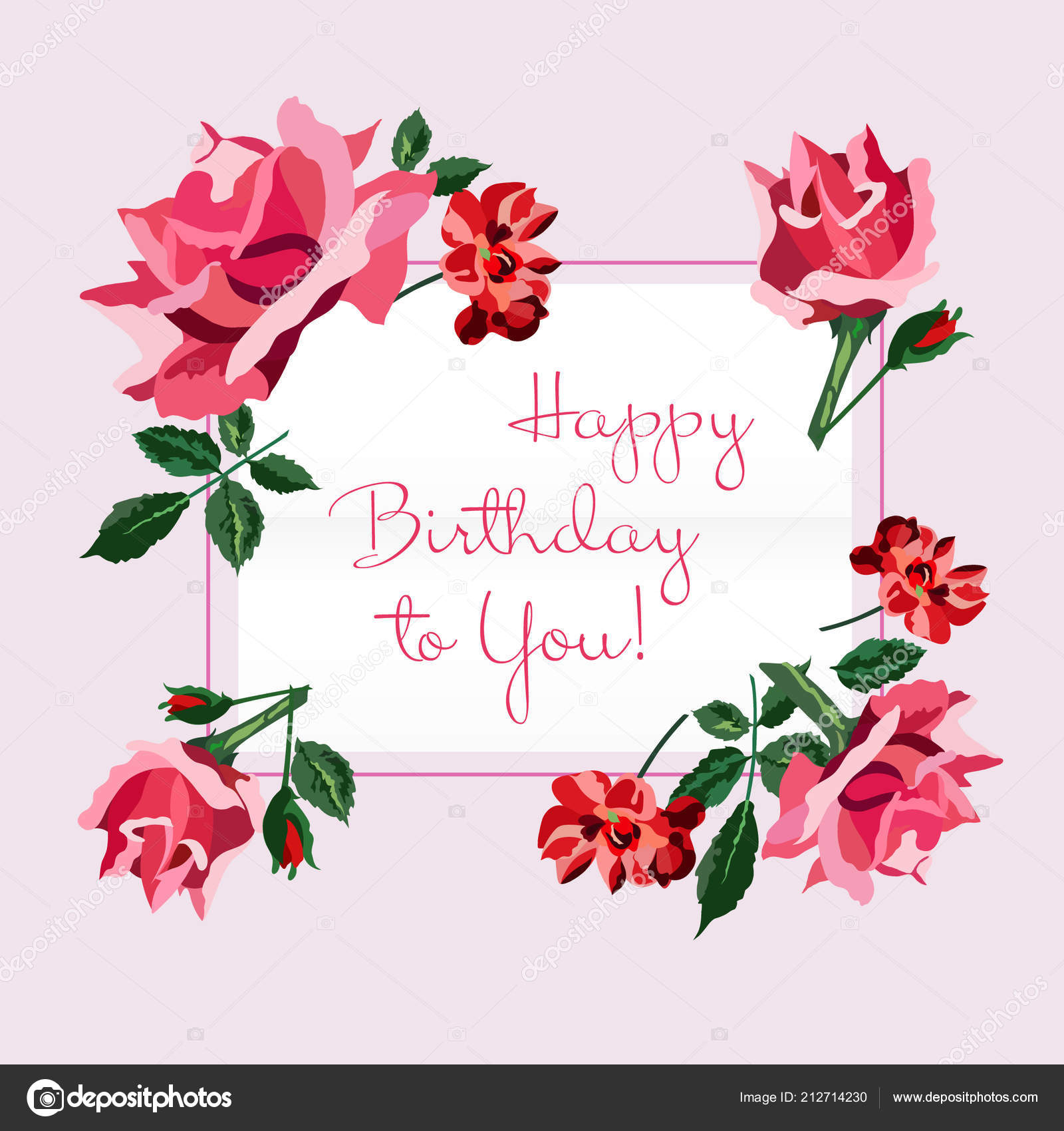 Happy birthday greeting card pink red roses rgeen leaves light happy birthday greeting card pink red roses rgeen leaves light stock vector m4hsunfo