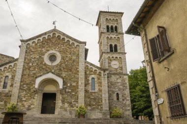 Castellina in Chianti, Italy - September 19, 2018: Medieval church of Saint Saviour in Castellina in Chianti, a typical comune in the province of Siena, in the Italian region Tuscany.