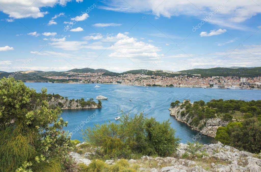 Sibenik, Croatia, June 26 2018, Beautiful sunny day in Dalmatia, Nice outdoors and landscape photo of warm summer season at Adriatic Sea.