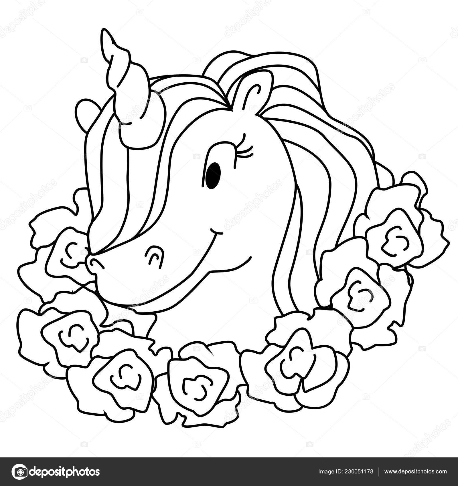 Dibujo De Unicornio Mágico Aislado Página Para Colorear De Vector