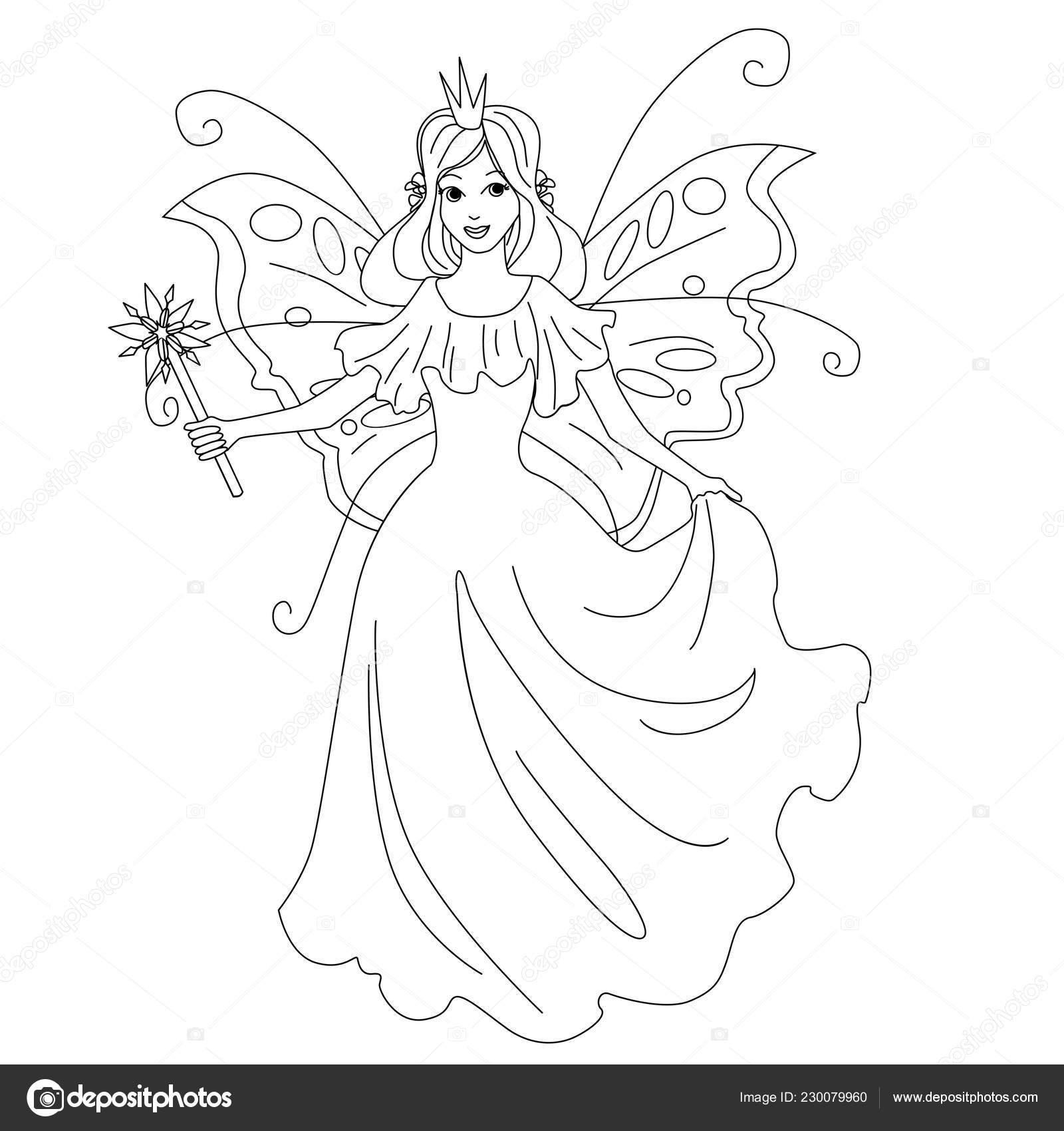 Ilustración Aislada Princesa Hada Mágica Página Para Colorear De